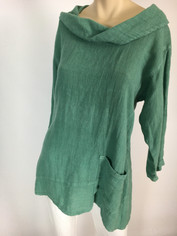 Color Me Cotton Linen Cowl Neckline Top in Jade Green Sale