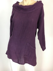 Color Me Cotton CMC Cowl Neckline Linen Top in Eggplant  SALE