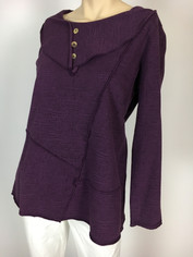Color Me Cotton CMC French Terry Pullover Top in Plum