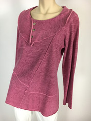 Color Me Cotton French Terry Pullover in Raspberry Rose