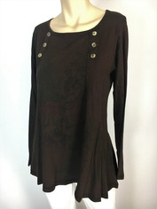 Color Me Cotton CMC Supima Laurie Top in Deep Chocolate Tonal Print
