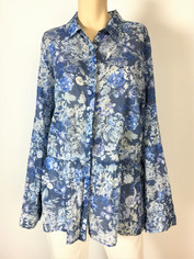 Johnny Was 3J Workshop Fine Cotton Blues Floral Print Shirt