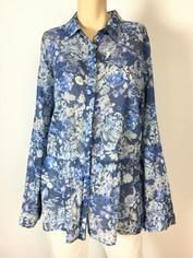 Johnny Was 3J Workshop Fine Cotton Blues Floral Print Shirt XLarge