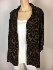 Soft Tapestry Tone on Tone Chocolate Swing Jacket by Color Me Cotton CMC