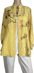 Linen Silk Embroidered Shirt  Medium