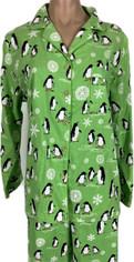 Joyful Penguin Print Flannel Pajamas   Medium