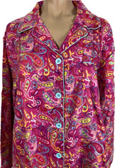 Pink Paisley Bamboo Cotton Flannel Sleepshirt   Small/Medium
