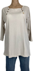Color Me Cotton CMC Laurie Top in Supima Cotton Light Beige  Large