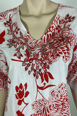 Baja Red and White Print Lounge, Dress,  Beach Cover-up