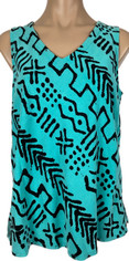 Tencel Sleeveless Tessa Top in Tribal Blue Print