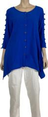 Royal Blue Color Me Cotton Open Sleeve Design Tunic Top
