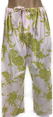 Extra long length pajama bottom in pale pink & green   Small