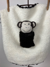 Barefoot Dreams Mini Pocket Buddy Blankie in Brown and Ivory with Monkey