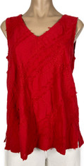 Red Embroidered Cotton Sleeveless Top by Tianello