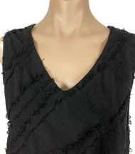 Embroidered Black V Neck Sleeveless Top by Tianello
