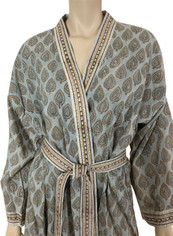Block Print from India Wrap Robe One Size  Gray
