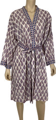 Block Print from India Wrap Robe One Size Navy/Maroon Print on White