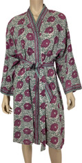 Hand Blocked Print from India Cotton Wrap Robe in Mauve Rose and Soft Green