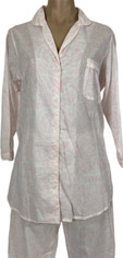 Pine Cone Hill Pajama Set in Lightweight Cotton Voile Palest Pink on White