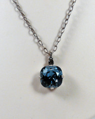 La Vie Parisienne Large Crystal Drop Necklace Silver Chain Midnight Blue