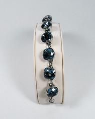 La Vie Parisienne Silver 9 Stone Sparkling Cyrstal Bracelet in Midnight Blue