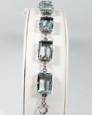La Vie Parisienne Silver 7 Stone Emerald Cut Cyrstal Bracelet in Ice Blue