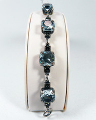 La Vie Parisienne Silver Sparking 7 Stone Cyrstal Bracelet in Ice Blue