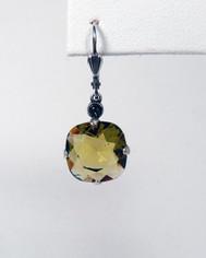 La Vie Parisienne Large Drop Earrings Olive Crystal