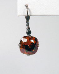 La Vie Parisienne Large Earrings Brown Topaz Crystal