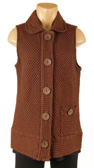 Focus Fashions Waffle Knit Chocolate Vest CLOSEOUT SALE