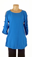 Chic Open Sleeve Cotton Tunic in Royal Blue CLEARANCE SALE