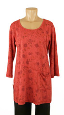 Color Me Cotton CMC Rosie Tunic in Ruby Red Tonal Print Lase One Size 2X Sale