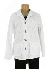 Focus Fashions Classic Waffle Jacket in White CLOSEOUT SALE