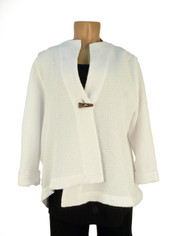 Focus Waffle One Button Wrap Jacket in White