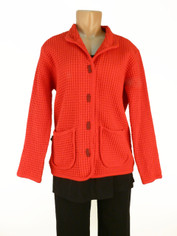 Focus Fashions Classic Waffle Jacket in Red CLEARANCE SALE Last One Small