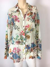 Johnny Was 3J Workshop Fine Cotton Floral Print Shirt