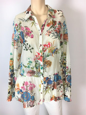 Johnny Was 3J Workshop Fine Cotton Floral Print Shirt
