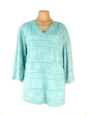 Cotton Textured Top in Pale Turquoise by Tianello