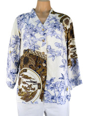 Citron Silk Blouse China Blue Print