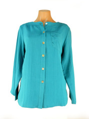 Fridaze Linen Blouse Peacock Blue   Medium
