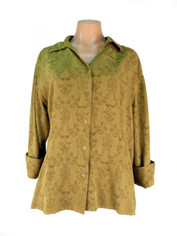 Tencel Jacquard Aubrey Shirt in Olive by Tianello