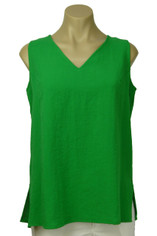Fridaze Linen Sleeveless Top Kelly Green