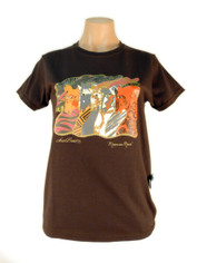 Laurel Burch 'Moroccan Mares' Horses Cotton Tee Deep Chocolat