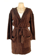 Barefoot Dreams Cozy Lite Hooded Short Robe Espresso