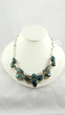 Deep Waters Blue Chrysocolla and Pearls Necklace