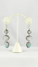 Dreamy Blues Earrings Larimar, Moonstone, Quartz