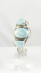 Three Stone Larimar Sterling Silver Bracelet