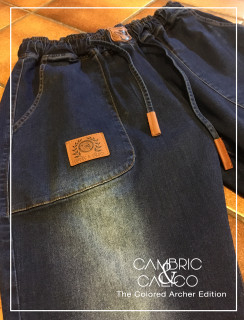 The Colored Archer Blue Denim Patch Jean Joggers by Cambric and Calico