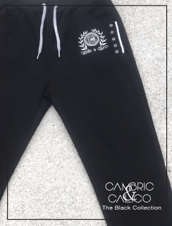 Black Navy Button Pocket Joggers By Cambric and Calico