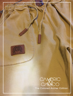 The Colored Archer Khaki Patch Jean Joggers By Cambric and Calico